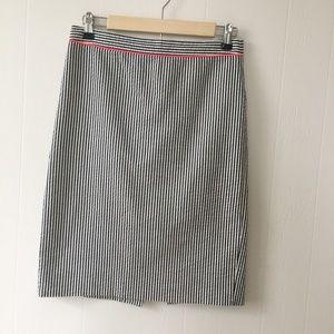 J.Crew Seersucker Skirt with Pink Piping